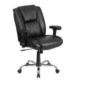 Office Chair Tall Black Leather Swivel Task Height Adjustable Arms 400 pound