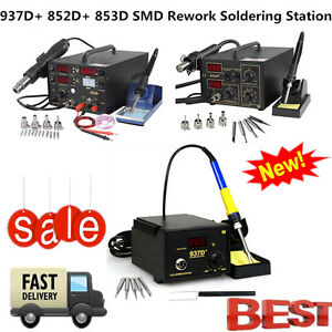 853d 852d 937d Rework Soldering Station Solder Iron Smd Hot Air Gun Exc