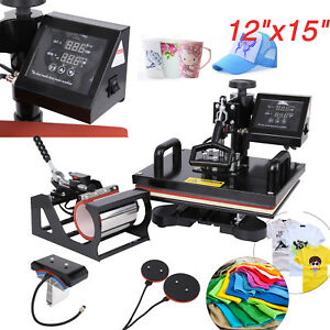 5in1 Heat Press Machine Swing Away Digital Sublimation T shirt Mug Plate Hat Diy