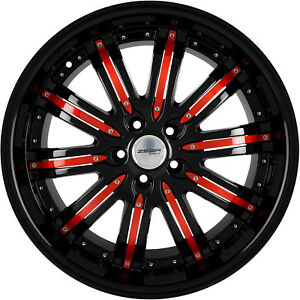 4 Wheels 20 Inch Black Red Narsis Rims Fits Toyota Camry V6 2012 2018