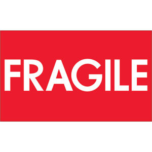 Tape Logic Labels fragile high Gloss 3 X 5 Red white 500 roll Dl1082