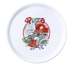 Decorated White Porcelain Pizza Plate 12 Made In Italy 1 Case 6 Dishes
