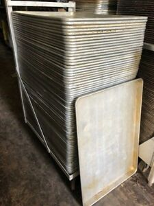 Lot Of 300 Clean Baking Bakery Dough Food Full Size Sheet Pans With Cart 18x26