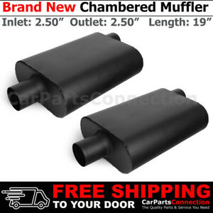 2 5 In Out Offset Center Black Pair Aluminized Steel Chamber Muffler Universal