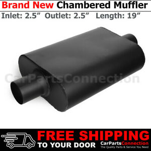 2 5 Inches Center In Out Black 212094 Aluminized Steel Chamber Muffler