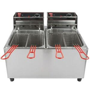 Cecilware El2x15 Stainless Steel Electric Commercial Countertop Deep Fryer