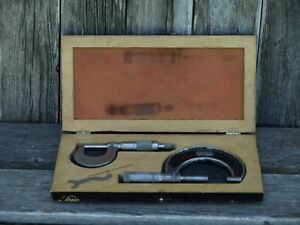 Vintage Micrometer Lot Starett 436 1 To 2 Brown Sharpe W Helmold Box