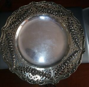 C1900 Hand Hammered German 800 Sterling Silver Floral Reticulated Tray Platter