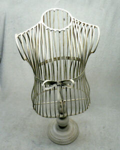 Vintage Miniature Wire Metal Dress Form Mannequin Table Top Display 23 Tall