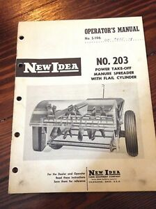 New Idea Operators Manual For No 203 Power Take off Manure Spreader s 196