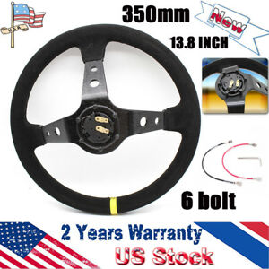 350mm 13 8 Inch Deep Dished Sport Racing Suede Leather Alloy Car Steering Wheel