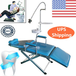 Professional Dental Mobile Chair Stool W led Light tray waste Basin water Supply