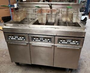 Frymaster 48 3 bay Center Bay 2 Split Bays Natural Gas Fryer On Casters