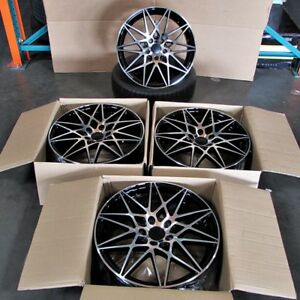 Bmw M3 Style 19x8 9 5x120 Et35 37 Black Machined Face Staggered Wheel Set