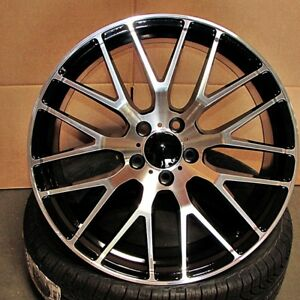 Mercedes Cls Style 19x8 5 9 5 5x112 Et42 48 Black Machined Face Staggered Wheels