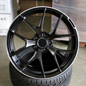 Mb C63 Style 20x8 5 9 5 5x112 Et35 38 Black Machined Stripe Staggered Wheels