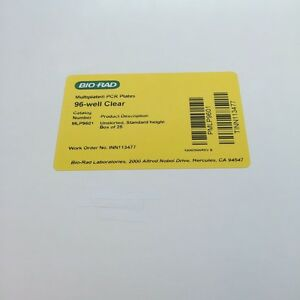 Biorad Mlp9601 Pcr Plates 96 well Clear Unskirted standard Height box Of 25