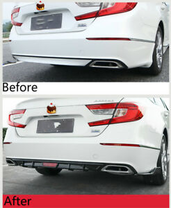 For Honda Accord 2018 2019 Rear Bumper Diffuser Side Wing Body Kit Gloss Black