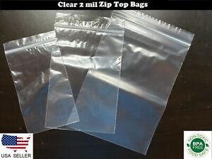Clear Zip Lock Bags Plastic Ziplock Reclosable Baggies 2 Mil Poly Jewelry Zipp