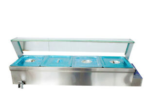 6inch Deep 4 pan Buffet Bain marie Food Warmer 1500w 110v Steam Table Stainless