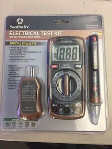 Southwire 3 Pc Electrical Test Kit Multimeter Voltage Receptacle Detectors