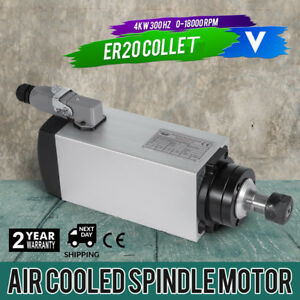 Cnc 4kw Air Cooled Spindle Motor Er20 4 Bearing Easy To Dismantle Mill Grind
