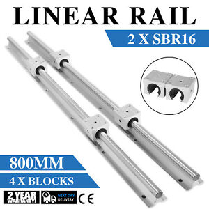 Sbr16 800mm 2x Linear Rail Set 4x Bearing Block Shaft Rod Smooth Sliding 16mm