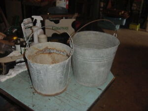 2 Vintage Galvanized Pails Bucket 70s 80s Garden Decor 2 Gal Lot D Photo Prop