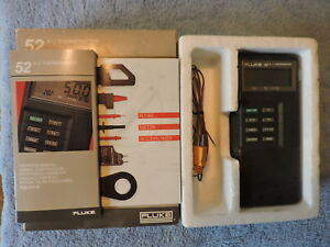 Fluke 52 K j Two Channel Digital Thermometer Calibrated W case Probes