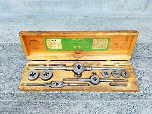 Antique Circa 1895 Greenfield Little Giant Tap And Die Set No 8 1 4 To 3 4 nc