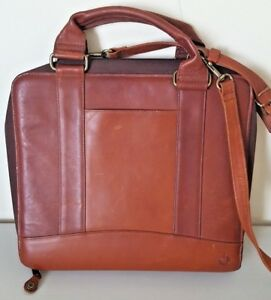 Franklin Covey Brown Leather Monarch 7 ring Binder Briefcase Satchel Bag