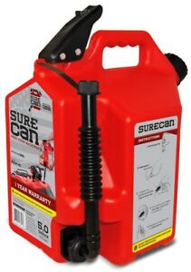 Surecan 5 gallon Plastic Gas Can Ented Spout Red Vintage Gal Flexible Nozzle