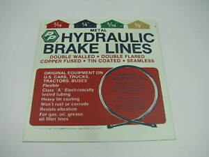 Perfect Parts Metal Hydraulic Brake Lines Metal Sheet Chart Sign 9 X 8 1 4