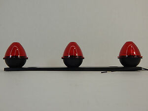 Truck Trailer Running Side Marker 3 Light Bar Red Vintage Style