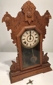 Antique Clock Seth Thomas Oak Gingerbread Carved 23 Tall W Key Thomaston