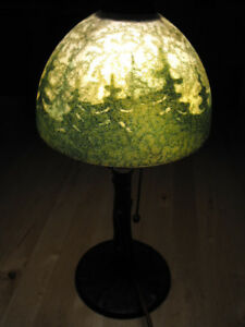 Handel Boudoir Lamp Reverse Painted Bronze Tree Trunk Base Forest Scene
