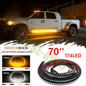 2pc 70 174smd Led Amber White Switchback Strip Car Truck Suv Step Signal Light