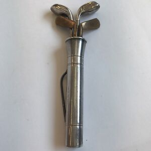 Antique Sterling Silver Manicure Set Form Of Golf Clubs In Bag Irons
