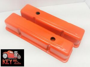 Small Block Chevy Orange Steel Valve Covers Tall Sbc 350 400 327 307 305 283