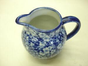 Vintage Beautiful Iron Stone Pottery Pattern Flow Blue England Pitcher Look