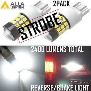 Alla Lighting 7443 Led Strobe Flash Back Up Reverse Light Brake Bulb Lamp White