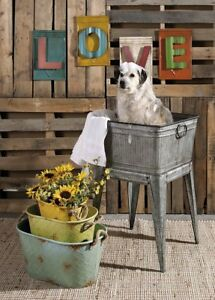 Multi Functional Galvanized Metal Tub On Stand Grey Wash Dog Clothes Etc