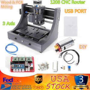 3 Axis Mini Mill Usb Cnc 1208 Router Wood Carving Engraving Machine Pcb Milling