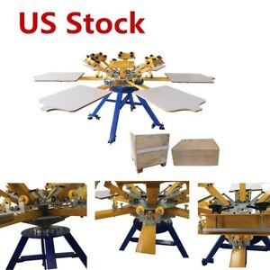 Us 6 Color 6 Station Carousel Silk Screen Printing Machine T shir