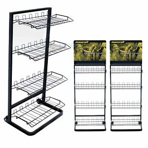 Wire Shelf Rack Display Multi Purpose Black Store Market Storage Retail 2 Pack