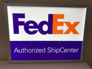 Lighted Electric Fedex Authorized Ship Center 2 Sided Sign 24 X 18