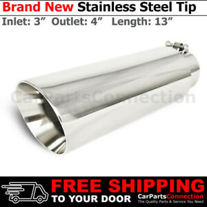 Bolt on Stainless Truck Angled Polished 13 Inch Exhaust Tip 213507 3 In 4 Out