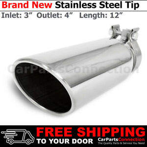 Clamp on Stainless Truck Angle Polished 12 Inch Exhaust Tip 213544 3 In 4 Out