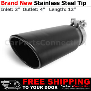 Clamp on Stainless Truck Angled Black 12 Inch Exhaust Tip 213830 3 In 4 Out
