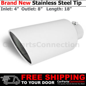 Bolt On Stainless Truck Angled White 18 Inch Exhaust Tip 213583 4 In 8 Out